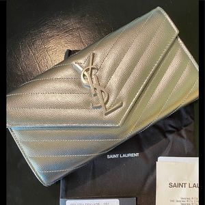 FABULOUS NEW YSL Womens Wallet Silver Continental